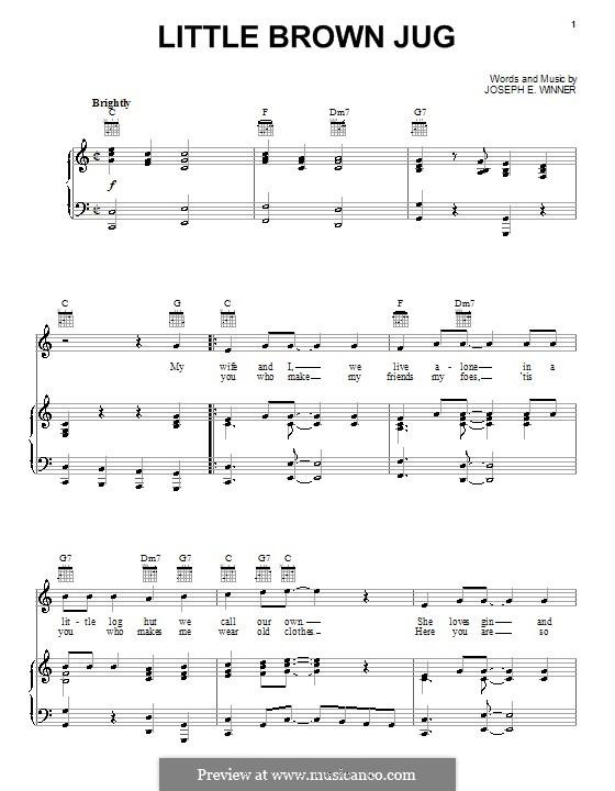 Little Brown Jug: Для голоса и фортепиано (или гитары) by Joseph Eastburn Winner
