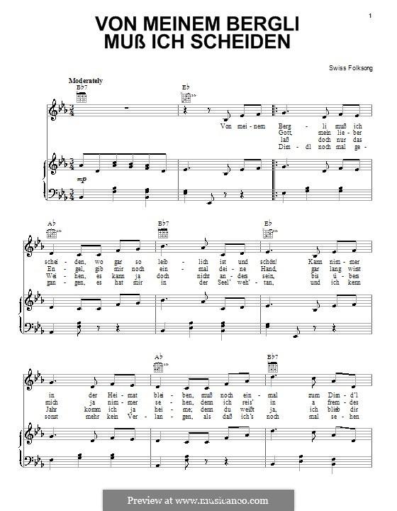 Von meinem bergli muss ich scheiden: Für Stimme und Klavier (oder Gitarre) by folklore