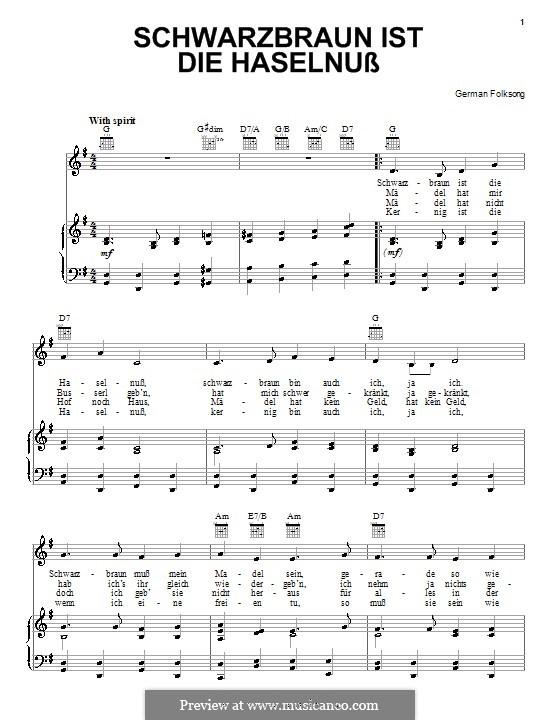 Schwarzbraun ist die Haselnuss: Für Stimme und Klavier (oder Gitarre) by folklore