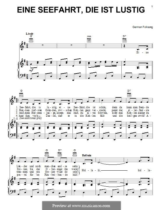 Eine Seefahrt die ist lustig: Für Stimme und Klavier (oder Gitarre) by folklore