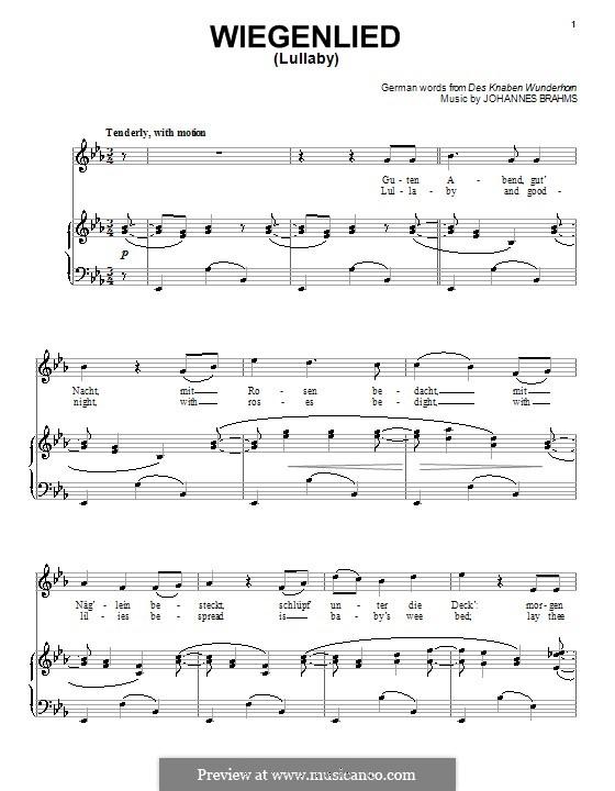No.4 Колыбельная: Для голоса и фортепиано (или гитары) by Иоганнес Брамс