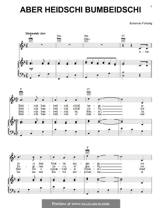 Aber Heidschi Bumbeidschi: Für Stimme und Klavier (oder Gitarre) by folklore