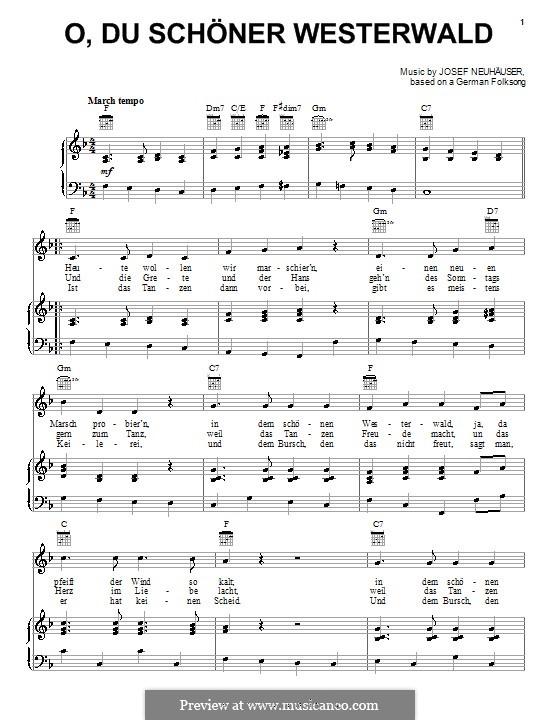 O, du schöner Westerwald: Für Stimme und Klavier (oder Gitarre) by folklore