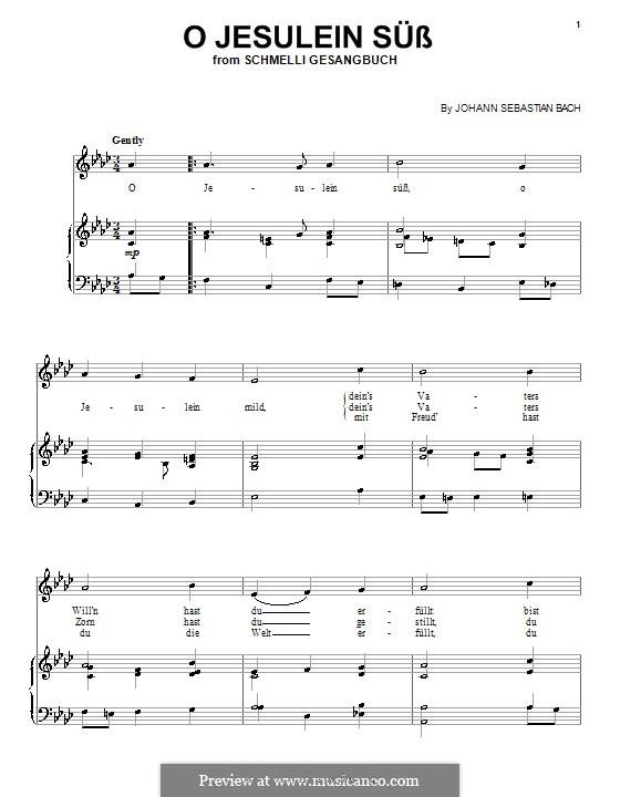 O Jesulein süss, BWV 493: Für Stimme und Klavier (oder Gitarre) by Иоганн Себастьян Бах