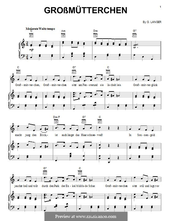 Grossmütterchen: Для голоса и фортепиано (или гитары) by G. Langer