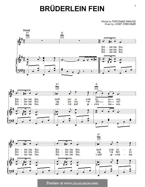 Bruderlein Fein: Для голоса и фортепиано (или гитары) by Ferdinand Raimund