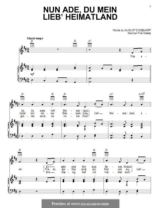 Nun ade, du mein Lieb' Heimatlan: Für Stimme und Klavier (oder Gitarre) by folklore