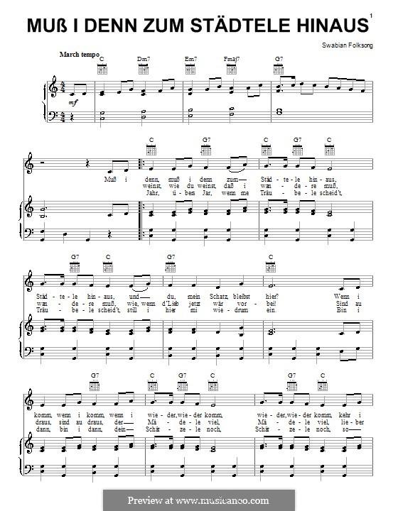 Muss ich denn zum Städtele 'naus: For voice and piano (or guitar) by folklore