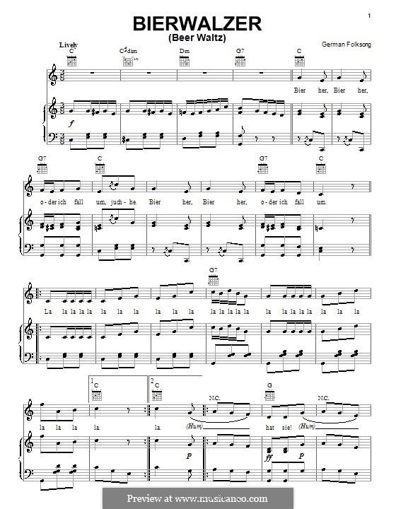 Bierwalzer: Für Stimme und Klavier (oder Gitarre) by folklore
