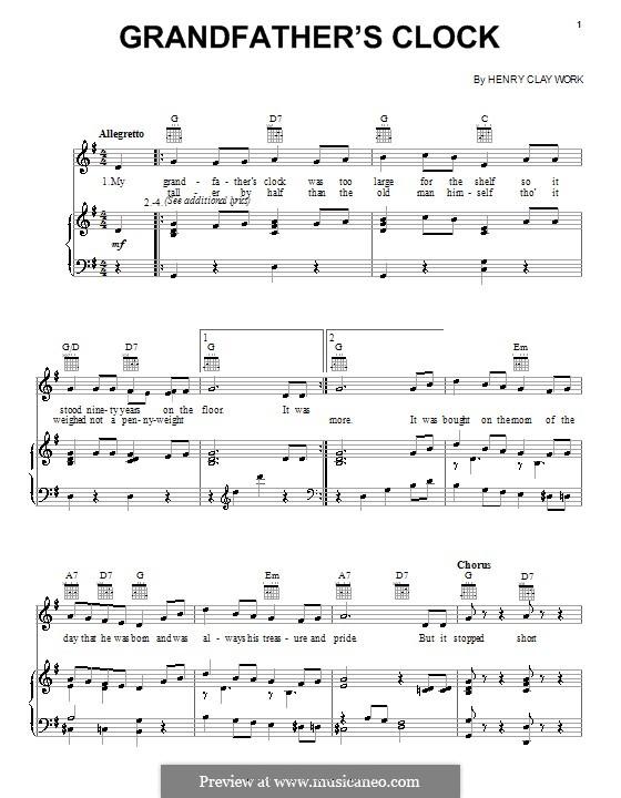 Grandfather's Clock: Для голоса и фортепиано (или гитары) by Henry Clay Work
