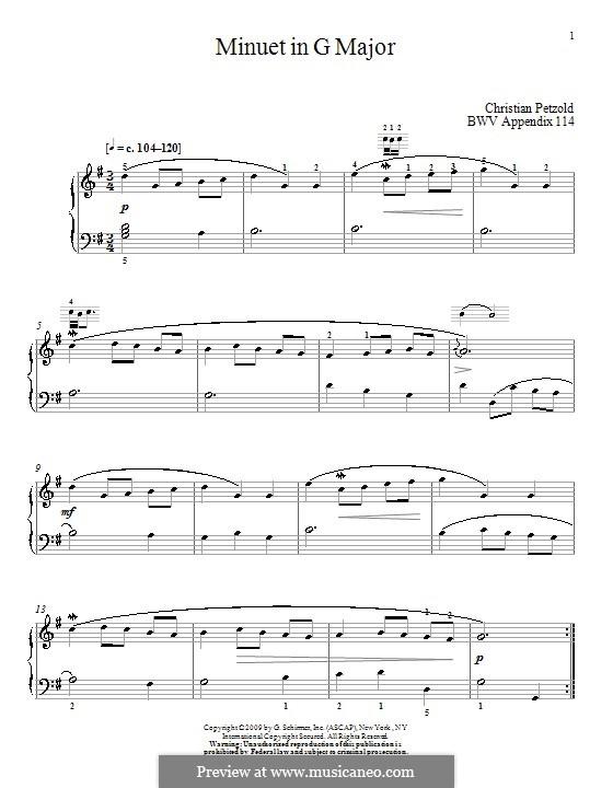 No.4 Менуэт соль мажор, для фортепиано: For a single performer (by Christian Petzold) by Иоганн Себастьян Бах