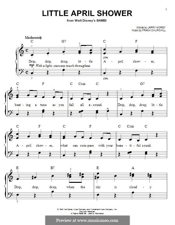 Little April Shower (from Bambi): Для фортепиано (легкий уровень) by Frank Churchill