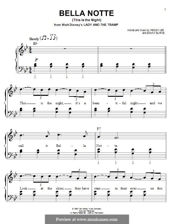 Bella Notte (This is the Night): Для фортепиано (легкий уровень) by Peggy Lee, Sonny Burke