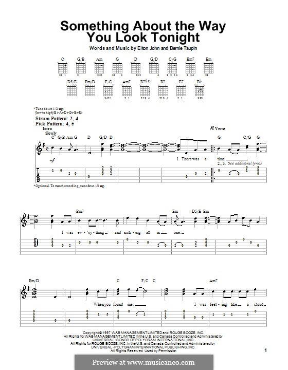 Something About the Way You Look Tonight: Для гитары (очень легкая версия) by Elton John