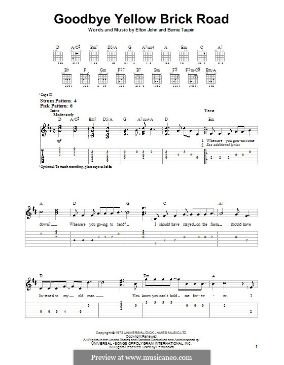 Goodbye Yellow Brick Road: Для гитары (очень легкая версия) by Elton John