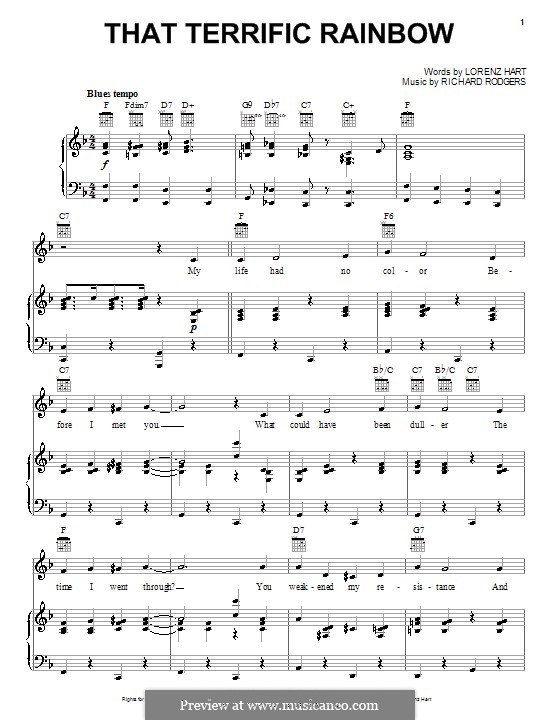 That Terrific Rainbow: Для голоса и фортепиано (или гитары) by Richard Rodgers