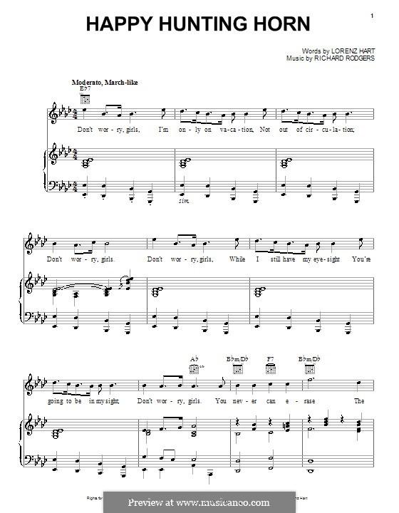 Happy Hunting Horn: Для голоса и фортепиано (или гитары) by Richard Rodgers