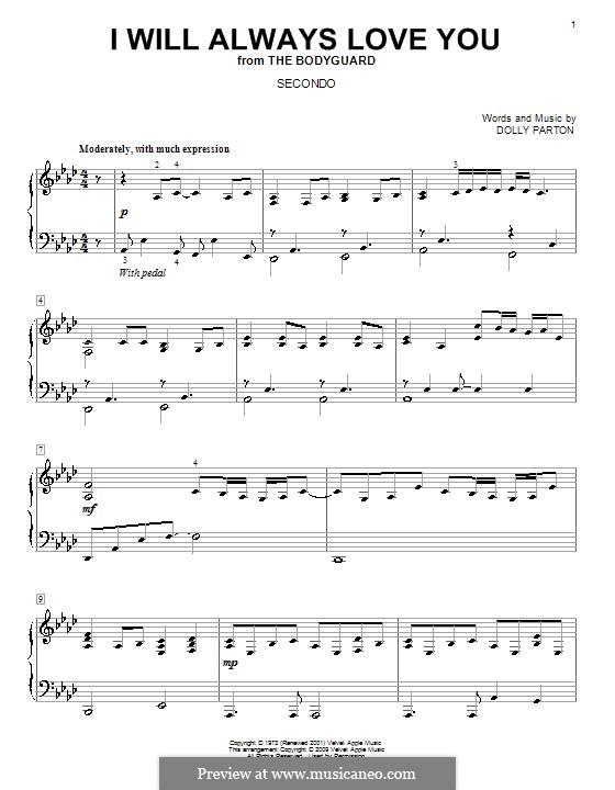 I Will Always Love You (Whitney Houston): Для фортепиано в 4 руки by Dolly Parton