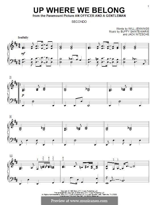 Up Where We Belong (Joe Cocker and Jennifer Warnes): Для фортепиано в четыре руки by Buffy Sainte-Marie, Jack Nitzsche, Will Jennings