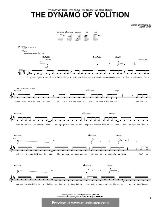 The Dynamo of Volition: Для гитары с табулатурой by Jason Mraz