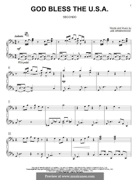 God Bless the U.S.A.: Для фортепиано в 4 руки by Lee Greenwood