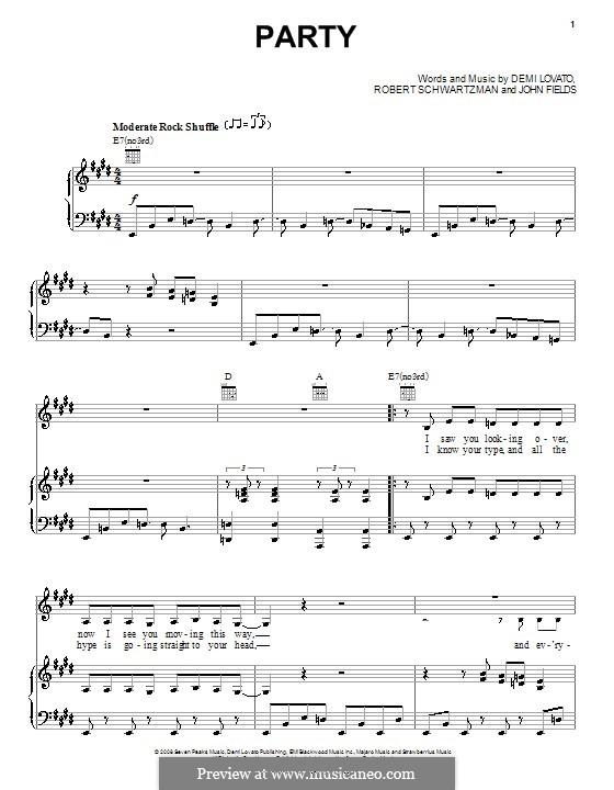 Party (Demi Lovato): Для голоса и фортепиано (или гитары) by John Fields, Robert Schwartzman