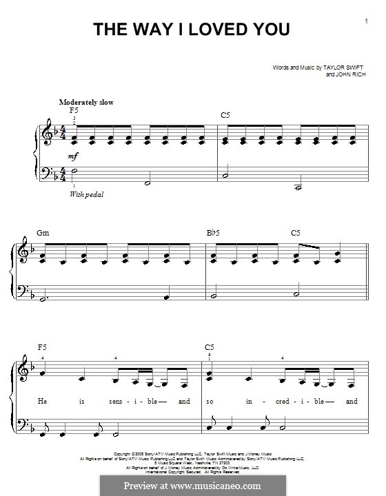 The Way I Loved You (Taylor Swift): Для фортепиано (легкий уровень) by John Rich