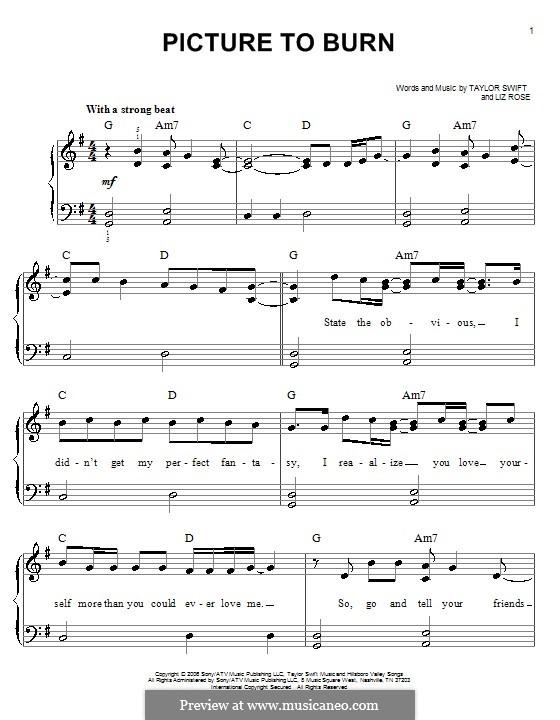 Picture to Burn (Taylor Swift): Для начинающего пианиста by Liz Rose