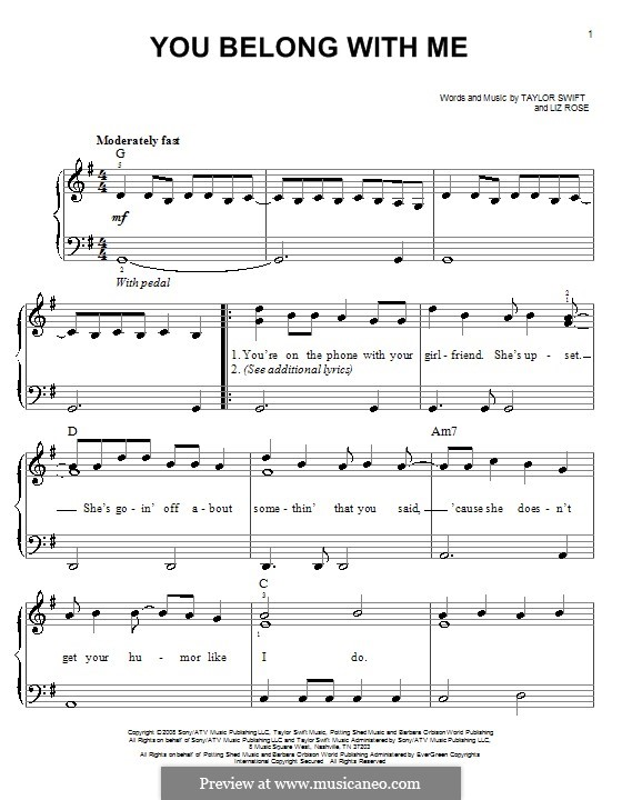 You Belong with Me (Taylor Swift): Для фортепиано (легкий уровень) by Liz Rose