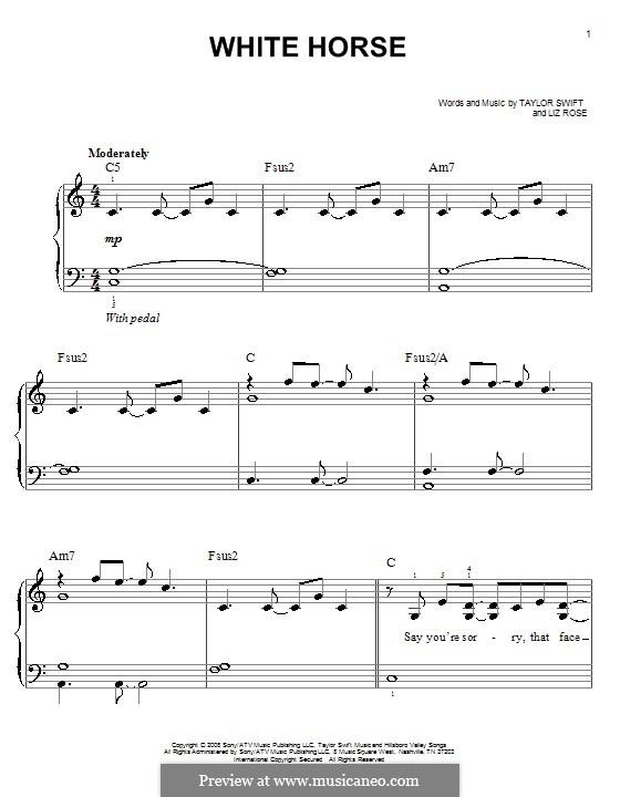 White Horse (Taylor Swift): Для фортепиано (легкий уровень) by Liz Rose