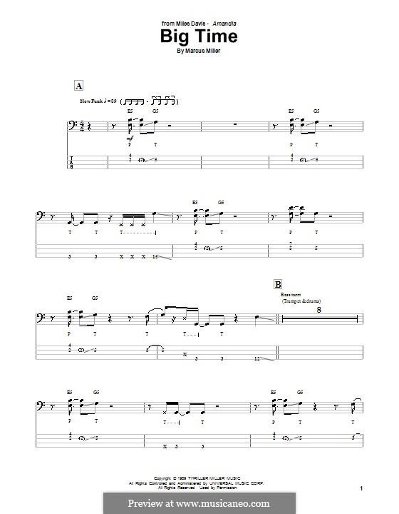 Big Time: Для бас-гитары с табулатурой by Marcus Miller