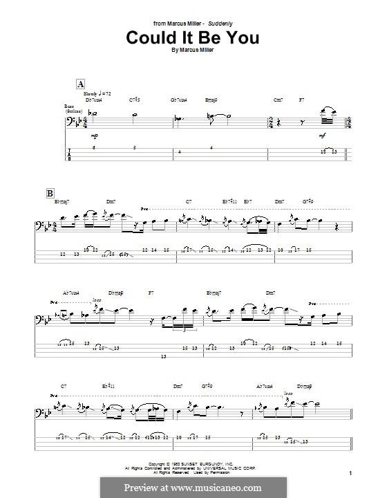 Could It Be You: Для бас-гитары с табулатурой by Marcus Miller