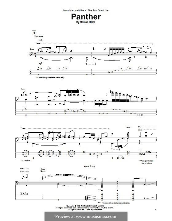 Panther: Для бас-гитары с табулатурой by Marcus Miller