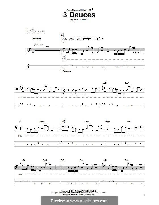 3 Deuces: Для бас-гитары с табулатурой by Marcus Miller