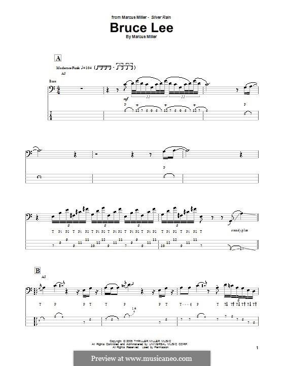 Bruce Lee: Для бас-гитары с табулатурой by Marcus Miller
