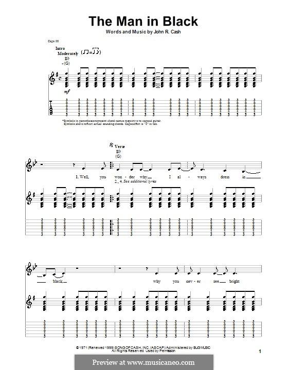 The Man in Black: Гитарная табулатура by Johnny Cash