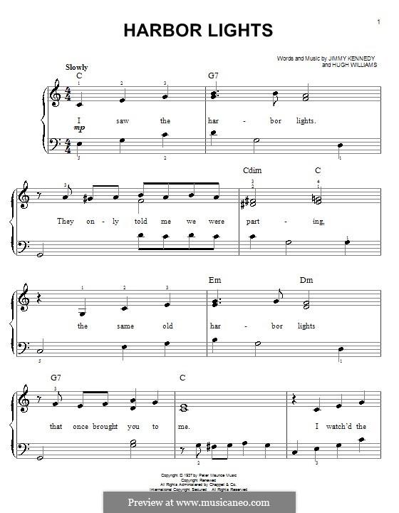 Harbor Lights (The Platters): Для фортепиано (легкий уровень) by Hugh Williams, Jimmy Kennedy