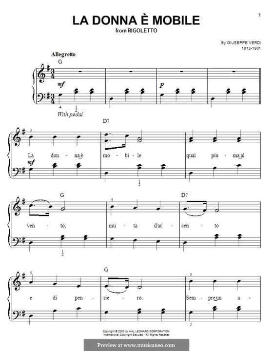 La donna è mobile (Over the Summer Sea): Для фортепиано (легкий уровень) by Джузеппе Верди