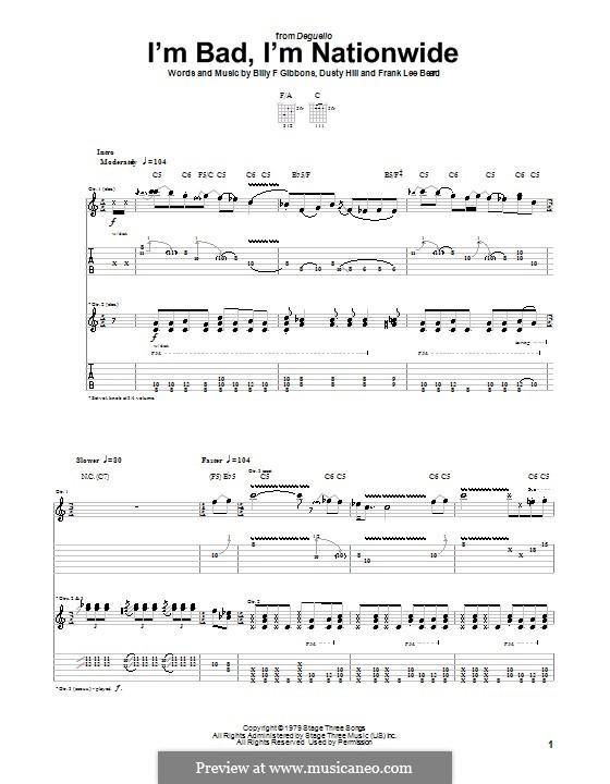 I'm Bad, I'm Nationwide (ZZ Top): Для гитары by Billy F Gibbons, Dusty Hill, Frank Lee Beard