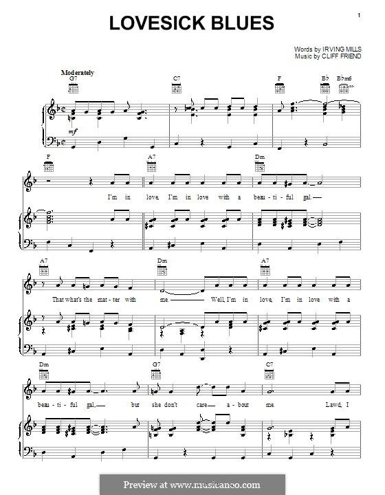 Lovesick Blues (Hank Williams): Для голоса и фортепиано (или гитары) by Cliff Friend, Irving Mills