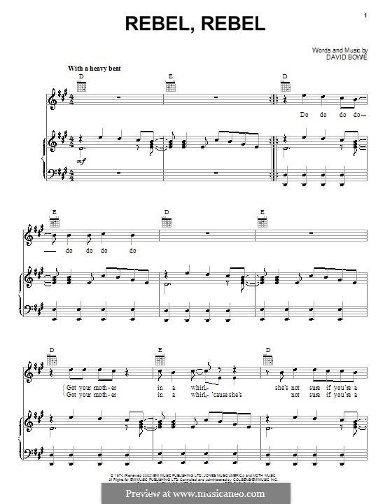Rebel Rebel: Для голоса и фортепиано или гитары (ноты высокого качества) by David Bowie