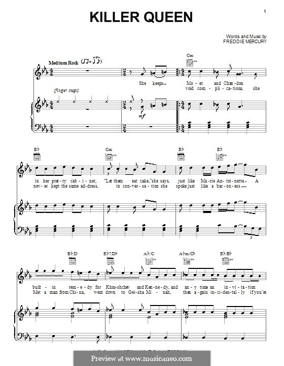 Killer Queen (Queen): Для голоса и фортепиано (или гитары) by Freddie Mercury