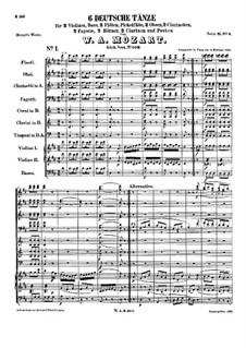 Шесть немецких танцев, K.509: Партитура by Вольфганг Амадей Моцарт