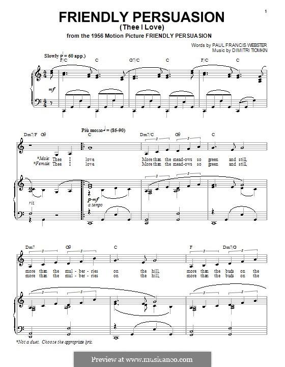 Friendly Persuasion (Pat Boone): Для голоса и фортепиано (или гитары) by Dimitri Tiomkin, Paul Francis Webster