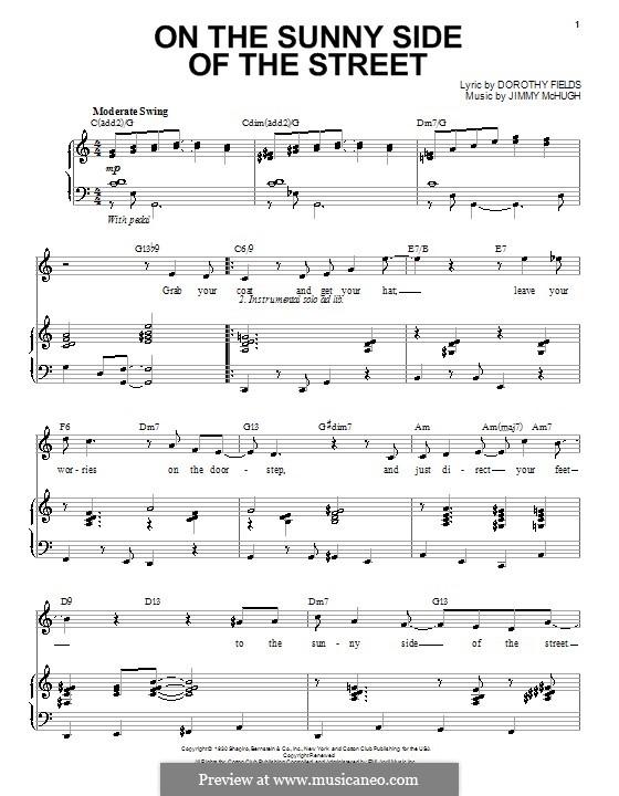 On the Sunny Side of the Street: Для голоса и фортепиано (или гитары) by Jimmy McHugh