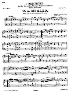 Восемь вариаций на тему марша 'Dieu d'amour' из оперы 'Браки самнитян' А. Гретри, K.352: Для фортепиано by Вольфганг Амадей Моцарт