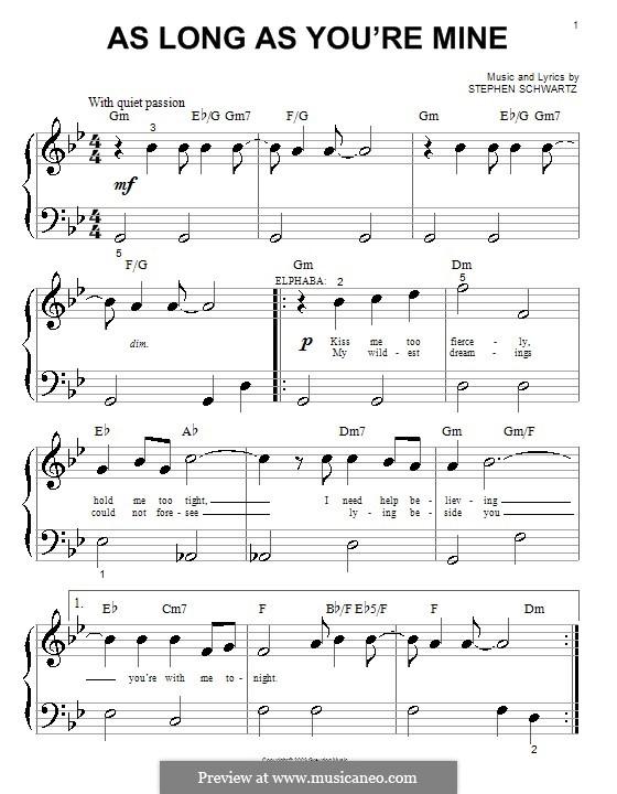 As Long as You're Mine (from Wicked): Для фортепиано (очень легкая версия) by Stephen Schwartz