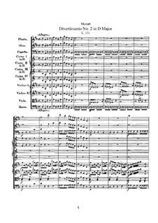 Дивертисмент No.2 ре мажор, K.131: Партитура by Вольфганг Амадей Моцарт