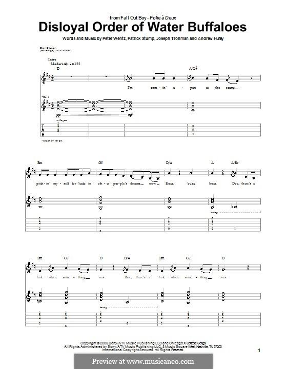 Disloyal Order of Water Buffaloes (Fall Out Boy): Гитарная табулатура by Andrew Hurley, Joseph Trohman, Patrick Stump, Peter Wentz
