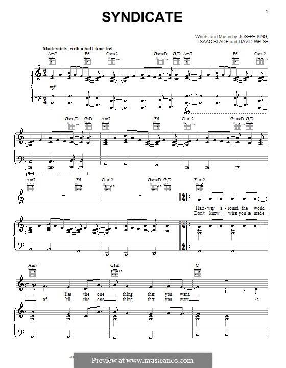 Syndicate (The Fray): Для голоса и фортепиано (или гитары) by David Welsh, Isaac Slade, Joseph King